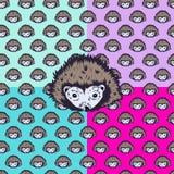 Ilustração animal do vetor do teste padrão do ouriço bonito sem emenda ilustração royalty free