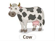 Ilustração animal dos desenhos animados da vaca para crianças Fotografia de Stock
