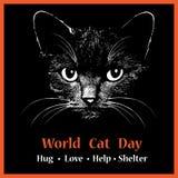 Ilustração animal principal do gato para o texto do fundo do dia do gato do mundo Ilustração do vetor Projeto da tatuagem do esbo Imagem de Stock