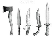 Ilustração antiga da gravura do desenho da mão das armas Foto de Stock Royalty Free