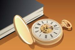 Ilustração antiga do relógio de bolso do ouro ilustração do vetor
