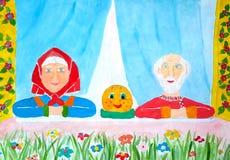 Ilustração ao bolo popular de Kolobok do conto do russo A avó e o vovô estão sentando-se na janela com o bolo e estão esper ilustração stock