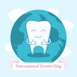 Ilustração ao dentista internacional Day Dente feliz que sorri e que mostra os polegares acima Imagens de Stock