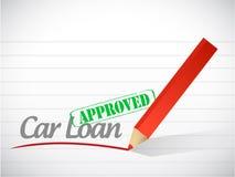 Ilustração aprovada da mensagem do sinal do empréstimo automóvel Fotos de Stock Royalty Free