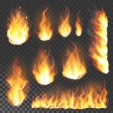 Ilustração ardente do vetor da chama realística do alargamento da chama do fogo 3d no fundo transparente ilustração stock