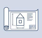 Ilustração arquitetónica do vetor do plano da casa Fotografia de Stock
