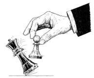 Ilustração artística do desenho do vetor da mão que guarda o penhor da xadrez e que bate para baixo o rei checkmate ilustração stock