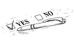 Ilustração artística do desenho do vetor do Yes e da nenhuma pena do formulário e de esferográfica do questionário ilustração royalty free