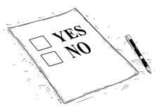 Ilustração artística do desenho do vetor do Yes e do nenhum formulário do questionário ilustração do vetor