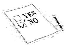Ilustração artística do desenho do vetor do Yes e do nenhum formulário do questionário ilustração royalty free