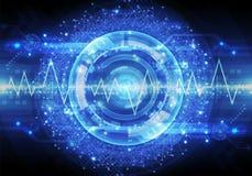 A ilustração artística do sumário 3d de um pulso liso alinha em uma bola lisa do fundo tecnologico moderno da energia ilustração do vetor