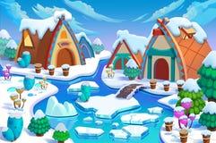 Ilustração: As casas de campo do ser humano na terra da neve na grande idade do gelo! Cabine, cerca, planta, rio do gelo Imagem de Stock Royalty Free