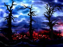 Ilustração assustador assombrada do fundo da floresta Fotos de Stock