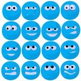 Ilustração azul bonito da arte do Emoticon Fotos de Stock