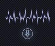 Ilustração azul de néon do reconhecimento de voz do vetor, linha da onda do pulso e microfone de incandescência ilustração do vetor