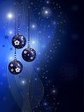 Ilustração azul do Natal com esferas Imagens de Stock