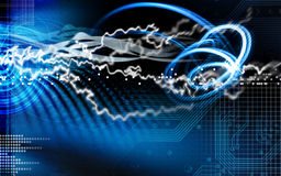 Ilustração azul do relâmpago e do circuito imagem de stock royalty free