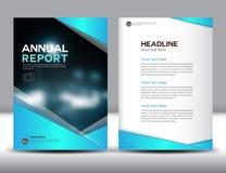 Ilustração azul do vetor do molde do informe anual Imagem de Stock Royalty Free