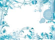 Ilustração azul do vetor do teste padrão do frame do Natal Imagem de Stock
