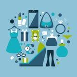 Ilustração azul dos ícones da compra foto de stock