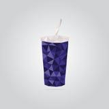 Ilustração azul poligonal do copo de papel Foto de Stock Royalty Free