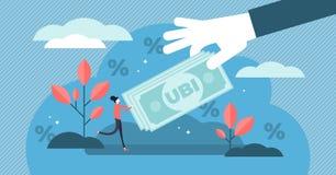 Ilustração básica universal do vetor da renda Conceito minúsculo liso da pessoa do dinheiro ilustração stock