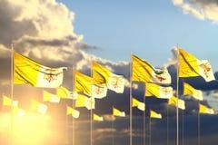 Ilustra??o bonita da bandeira 3d do Dia da Independ?ncia - muitas bandeiras de Holy See no por do sol colocado na fileira com foc ilustração do vetor
