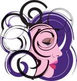 Ilustração bonita da face da mulher Imagens de Stock