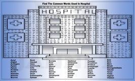 Ilustração bonita de um hospital com as palavras a encontrar ilustração stock
