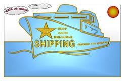 Ilustração bonita de um navio do transporte com uma avaliação de cinco estrelas ilustração do vetor