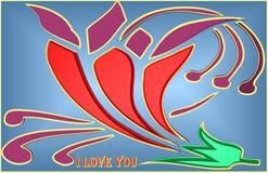 Ilustração bonita de uma rosa colorida ilustração stock