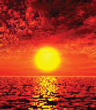 Ilustração bonita do por do sol Fotos de Stock