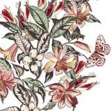 Ilustração bonita do vetor com as flores tropicais no vintage s ilustração royalty free