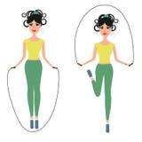Ilustração bonita do vetor da corda de salto da menina Imagens de Stock Royalty Free