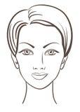 Ilustração bonita do vetor da face da mulher Fotos de Stock Royalty Free