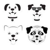 Ilustração bonito ajustada do vetor dos desenhos animados dos cães ilustração stock