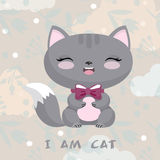 Ilustração bonito com gatinho Fundo da flor Fotos de Stock Royalty Free