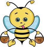 ilustração bonito da abelha do mel dos desenhos animados com luz - asas azuis ilustração royalty free