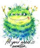 Ilustração bonito da aquarela do monstro Monstro macio Monstro bonito dos desenhos animados ilustração royalty free