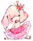 Ilustração bonito da aquarela do porco Fotos de Stock