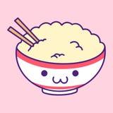 Ilustração bonito de Kawaii da bacia de arroz ilustração royalty free