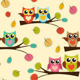 Ilustração bonito de Owl Seamless Pattern Background Vetora Fotografia de Stock Royalty Free