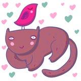 Ilustração bonito de sorriso das crianças do gato Imagens de Stock