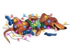 Ilustração bonito do bassê do Natal Fotografia de Stock Royalty Free