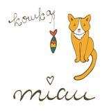 A ilustração bonito do caráter do gato com rotulação do russo da palavra do gato, koshka significa o gato no russo, e na sardinha Fotografia de Stock Royalty Free