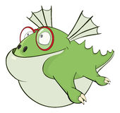 Ilustração bonito do dragão verde cartoon Fotos de Stock Royalty Free