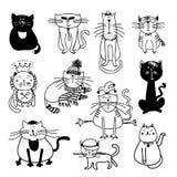 Ilustração bonito do esboço do vetor dos gatos Fotografia de Stock