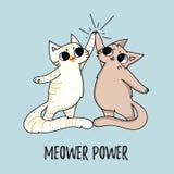 Ilustração bonito do poder de Meower com os gatos isolados no backgr azul ilustração stock