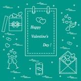 Ilustração bonito do vetor: calendário com dia de Valentine's, presentes, envelope postal, dois stemware, smartphone, pássaros  ilustração do vetor