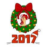 A ilustração bonito do vetor com galo e o Natal envolvem-se Foto de Stock Royalty Free